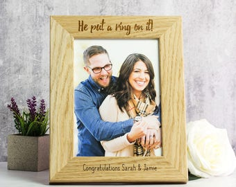 Engagement Photo Frame - Personalised Engagement Frame - Engagement Gifts For Couple - Oak Picture Frame - Photo Frame Picture Frame - LC194