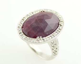 Sterling Silver 8.04ctw Indian Ruby Solitaire w/ accent Ring SZ 7
