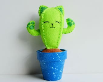 100% Acrylic Felt Cactus Cat 'Catcus'- Pin Cushion- Ornament