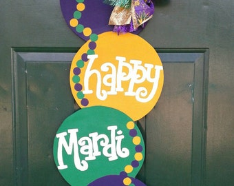 Mardi Gras Beads Door Hanger