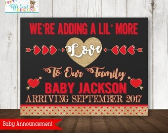 Valentine Pregnancy Announcement  - Chalkboard Poster Printable -   - Pregnancy Reveal Photo Prop - Expecting Sign