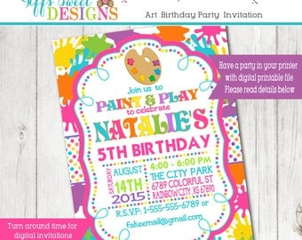 Art Splash Birthday Party Invitation
