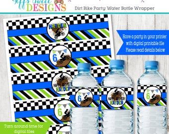 Boys Dirt Bike Birthday Party -   Water Bottle Wrapper - Dirt Bike  Water Bottle Label - Printable -
