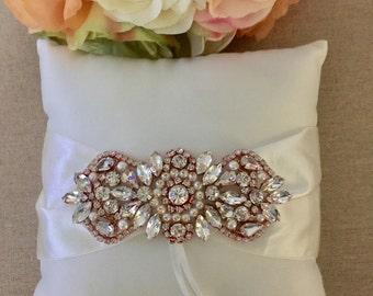 Ring Bearer Pillow Set - Rose Gold Rhinestone -Ring Bearer Pillow