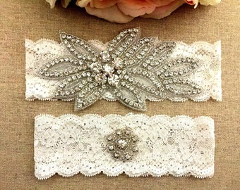 Bridal Garter - Rhinestone Garter - Wedding Lace Garter Set - Toss Garter - Crystal Garter - Wedding Garter Belt - Keepsake Garter