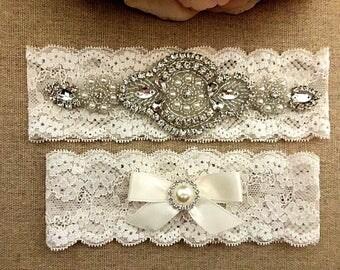 Rhinestone Wedding Garter - Bridal Garter - Crystal Rhinestone Garter and Toss Garter Set on Ivory Lace