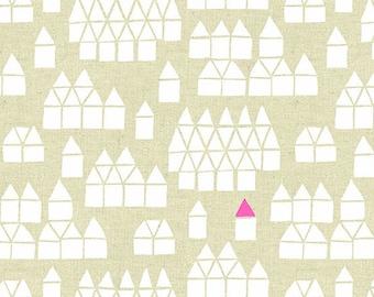 Village in Neutral- Maker Maker by Sarah Golden- Linen Cotton Blend