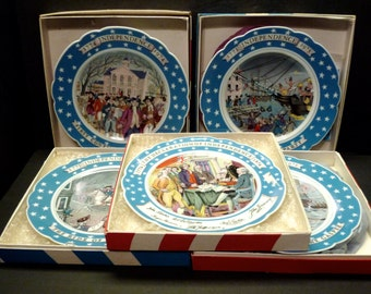 50% OFF -Set of 5 Historical Plates by Haviland Limolges France -1970's  in their original boxes-