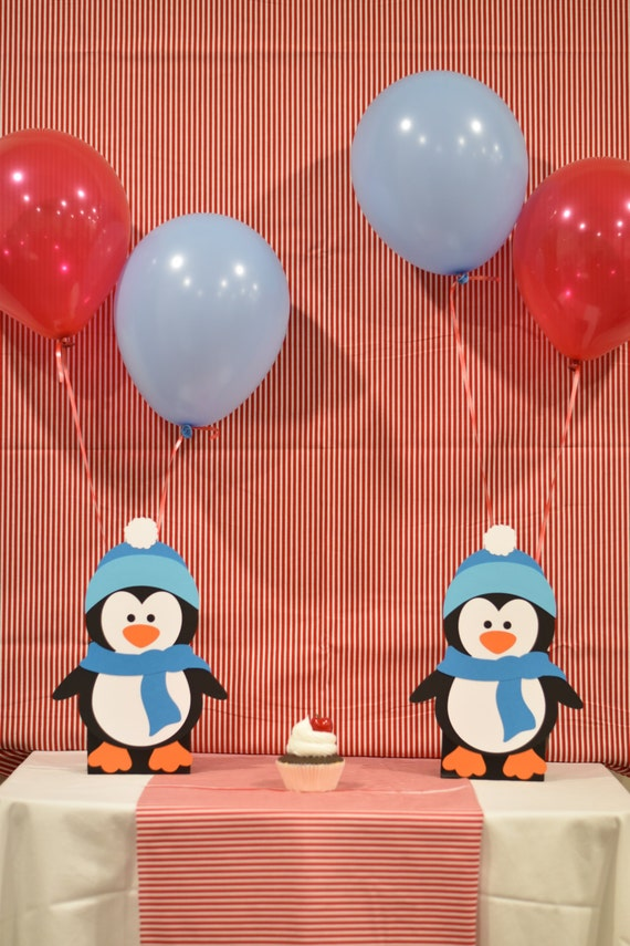 Winter penguin balloon holder birthday party by hope create