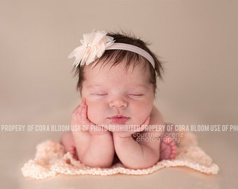 PICK ONE, Flower Headband, Peach Flower, Pink Headband, Peach Flower Headband, Newborn Headband, Baby Headband, Photography Prop
