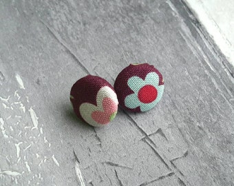 Burgundy flowered earrings, floral, pink