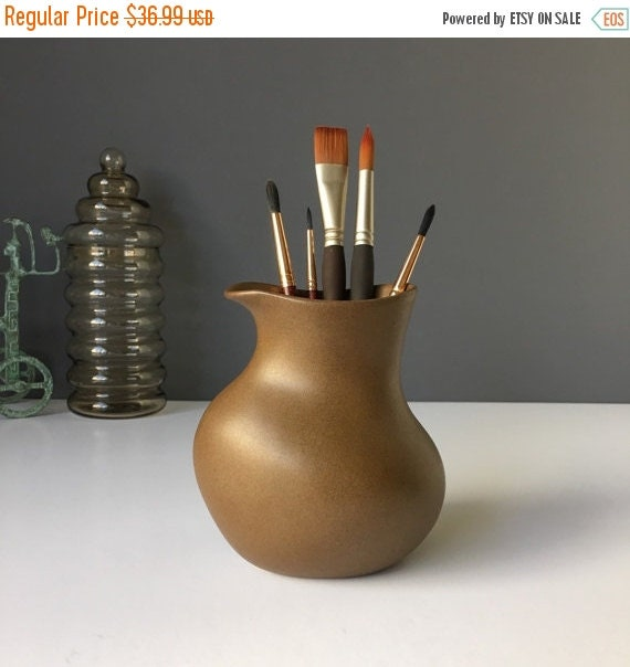 ON SALE Vintage Martz Pottery, Matte Brown Vase or Decanter, Mid Century American Art Pottery