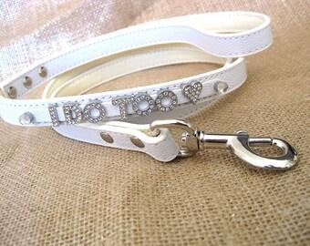 Wedding Dog leash | I Do Too leash | White Leash | White, Ivory, White Scroll, or silver | Wedding Leash