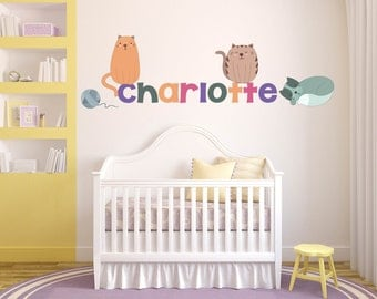 Name Wall Decal, Cat Theme Wall Decor, Cat Wall Decals, Cat Decor, Cat Wall Art, Kitty Wall Decals, Kitty Wall Art, Name Wall Decal
