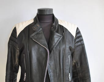 Vintage MOTORCYCLE LEATHER JACKET , women's leather jacket ..........(349)