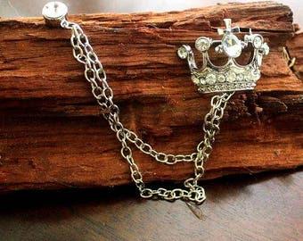 Men's jewelery, suit revers, pin, silver rhinestones,crown