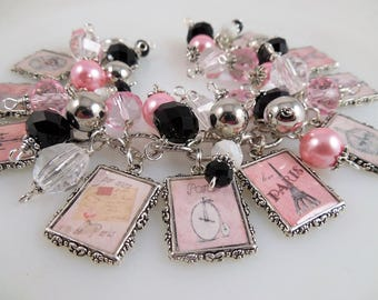 Pink Paris Oh La La  Altered Art Charm Bracelet Chunky Beaded Cha Cha Bracelet Parisian Bracelet