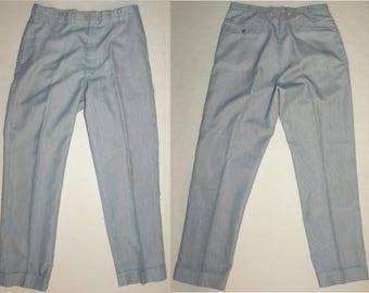 1960s 1960's Slacks / Cactus Casuals Mens Mod Pants / Blue & White Pinstripe / Vintage W 32 x L 29