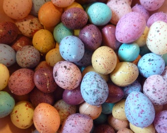 25 Eggs Plastic Craft Speckled Egg Easter Miniature Supply Decor Bird Nest (#173)