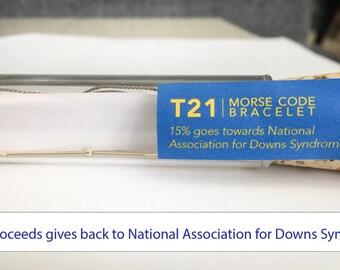 Down Syndrome Bracelet, Down Syndrome, T21 Down Syndrome, Down Syndrome Jewelry, Down Syndrome T21, T21 Bracelet, Code Down, Morse Code T21
