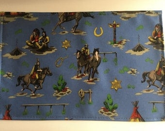 Oilcloth placemat,placemats,table mats,kids placemat, childrens placemat cowboys and indians