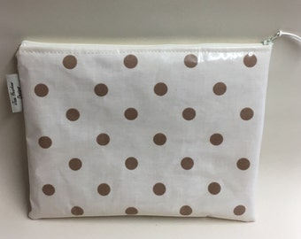 iPad bag,Tablet cover,ipad case,gadget sleeve,Cream and taupe spotty oilcloth.