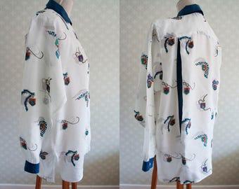 80s silk italian vintage blouse. Large size silk blouse.
