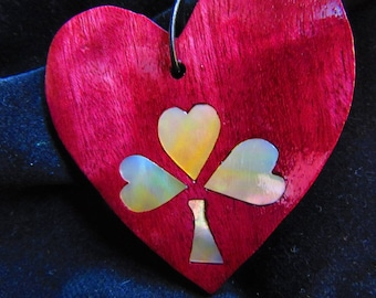 Shamrock Golden Mother-of-Pearl Inlay Purpleheart Wood Heart 3""