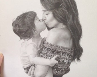 "Custom portrait drawing of mother and child or children 8x10"": original drawing of your family in graphite and charcoal 8x10"" custom drawing"
