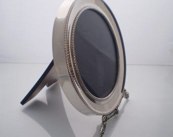 Silver picture frame, NEW Sterling Silver round picture frame, Vintage style, handcrafted, wooden backing & stand