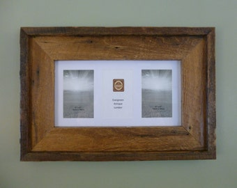 "Reclaimed Distressed Barnwood Triple 4""x6"" Picture Frame"
