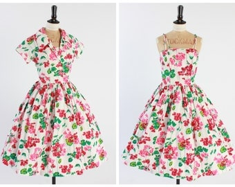 Vintage original 1950s 50s cotton floral print dress A Diana Dress British vintage UK 10 US 6 S