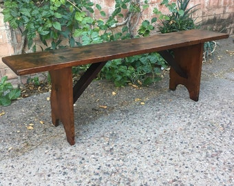 Beautiful Antique 19th Century Primitive Rustic Wood Through Tenon Joinery Reversible Long Bench Pew