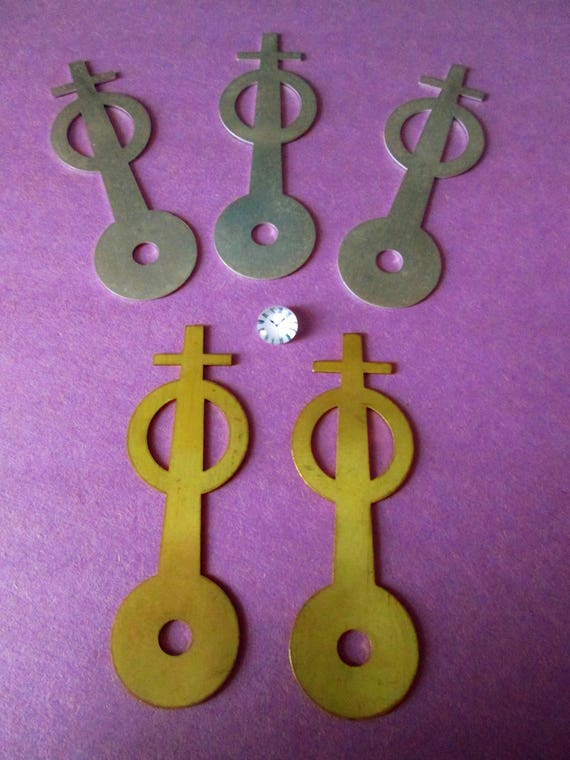 2 Vintage Solid Brass & 3 Aluminum Cross Style Clock Hands for your Clock Projects, Jewelry Making, Steampunk Art + Etc...3 1/4""