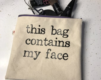 Canvas printed makeup bag plastic lined. Free Shipping