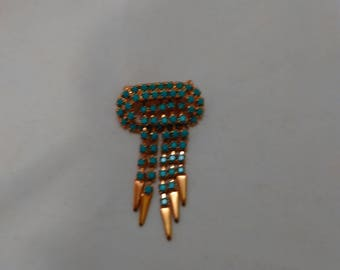 Vintage Blue Neon rhinestones brooch