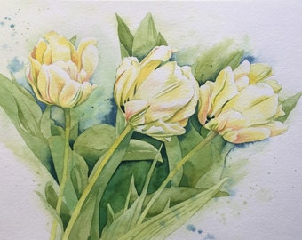 Original Watercolor Painting - Tulip Flowers in Monet's Garden