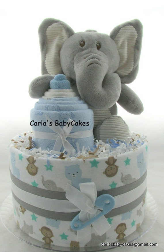 Plush Elephant Diaper Cake Topper