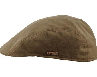 Men's Flat Cap made of Pure Emerizing Cotton (peach skin effect) - olive green