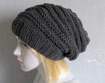 Mens knit hat, guys slouchy beanie, custom made in any colour.