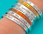 "Personalized Bracelet stamped Aluminum, copper, brass Cuff Personalized Gift You Choose Letters Custom Bracelet - 1/4"" Wide - Bracelet - 16"
