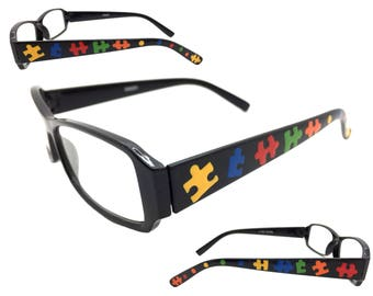 Women's Black 1.0 Strength Reading Glasses with Hand Painted Puzzle Pieces for Autism Awareness