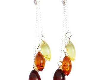 Stunning Baltic Amber Earrings - Triple Chain Drops 535 with sterling silver back finding. Our gift boxes add that extra touch
