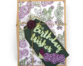 New! Sizzix Thinlits Die Set 5PK - Birthday Wishes by Jen Long