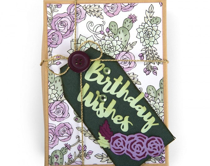 New! Sizzix Thinlits Die Set 5PK - Birthday Wishes by Jen Long