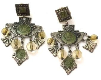 Art Deco Style Dangle Earrings, Distressed Silver Tone Green Swirl Drop Earrings, Olive Green Fan Post Back, Beaded Deco Earrings, Geometric