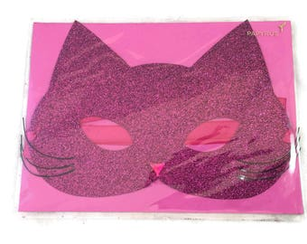 Wearable Glittered Cat Mask Glasses Halloween Card, Papyrus Greetings Halloween Card Pink Glitter Kitty Mask Papyrus, Ribbon Tie Black Mask