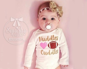 Baby Girl Football Outfit, Girl Football Bodysuit, Huddles and Cuddles, Baby Football Outfit, Football Bodysuit & Football Headband