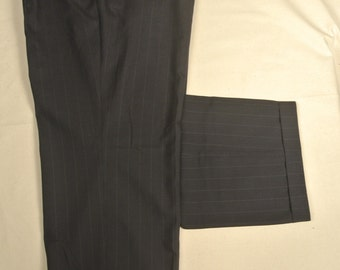 Corbin Charcoal Pinstripe 100% Worsted Wool Dress Pleat Trousers Size: 41x30