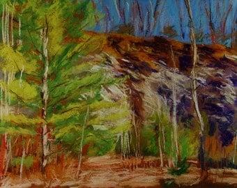 Original Pastel Painting, Vermont Landscape, Winter, Pownal Quarry, by Robert Lafond